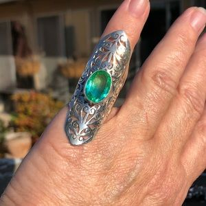 Jewelry - Green/Blue Quartz Sterling Silver Ring Sz 7.5